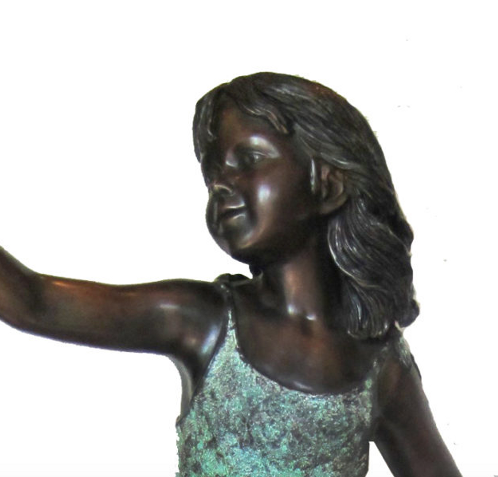 Girl with Shell on Sea Turtle Bronze Fountain Statue | Metropolitan Galleries | SRB706740