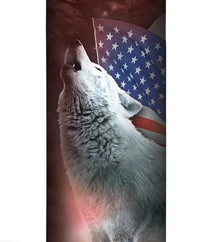 Patriotic Lights Wolf Stainless Steel 17oz Travel Mug | The Mountain | 5964401 | Wolf Travel Mug