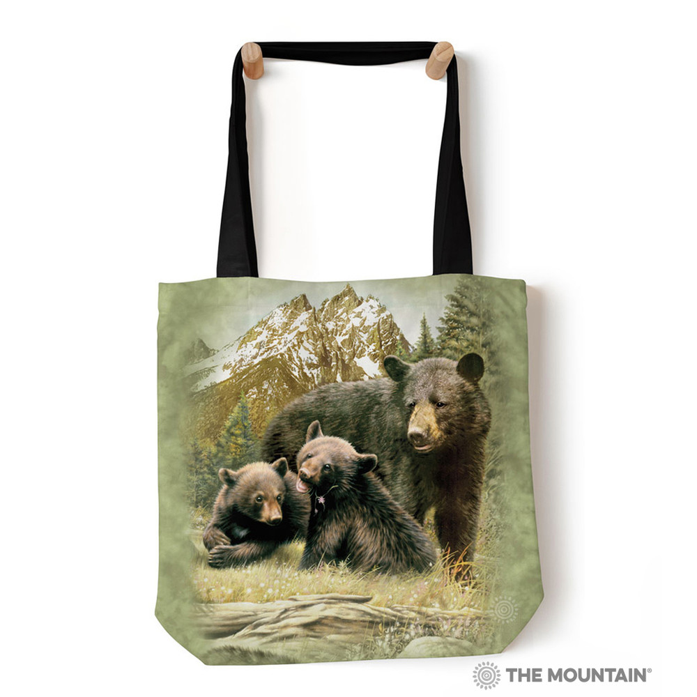 "Black Bear Family 18"" Tote Bag 