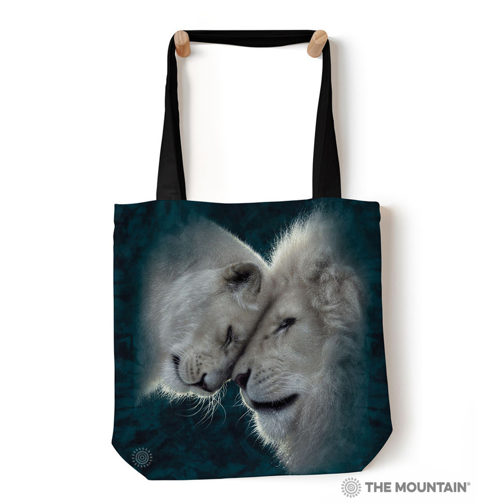 """White Lions Love 18"""" Tote Bag 