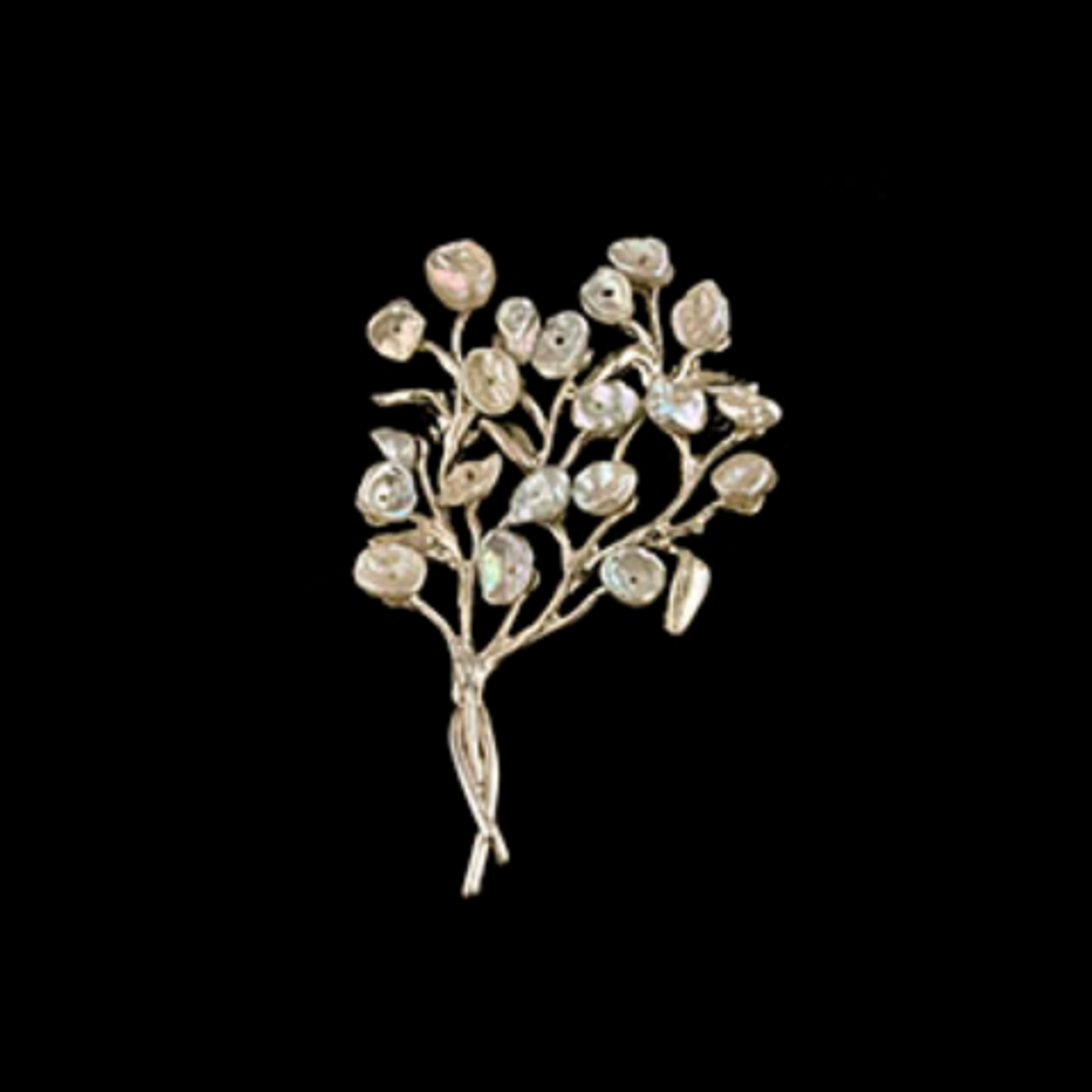 Baby's Breath Sterling Silver Keshi Pearl Pin | Michael Michaud | 5961S | Nature Jewelry
