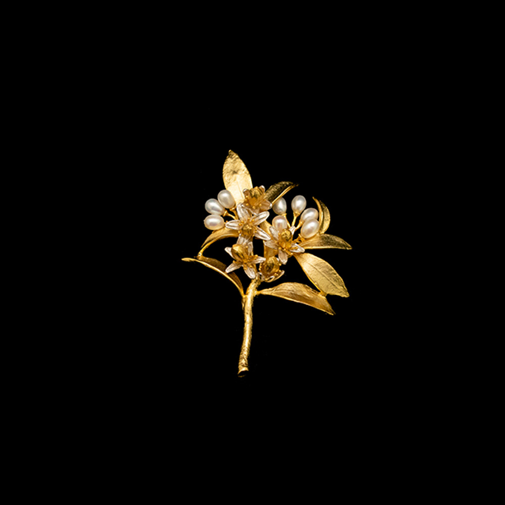 Orange Blossom Pearl and Gold Pin | Michael Michaud | 5776V | Nature Jewelry