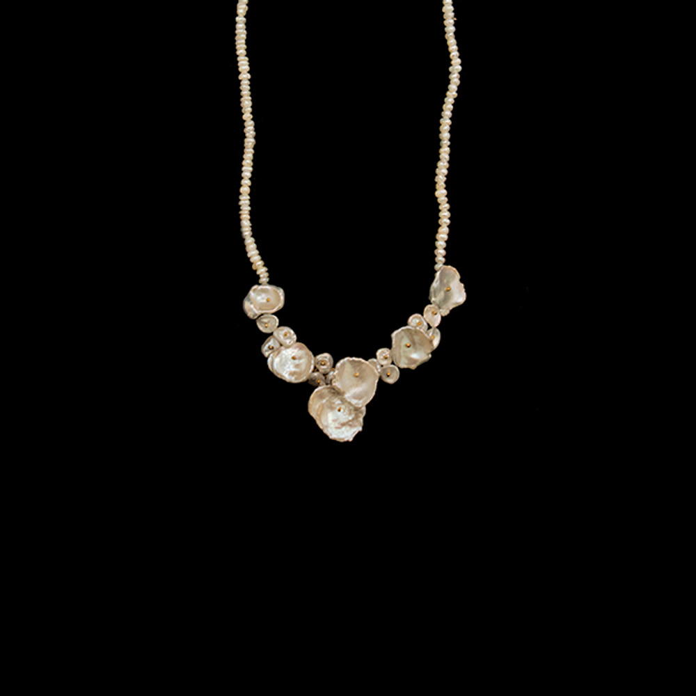 "Silver Dollar 16"" Adjustable Gold and Pearl Necklace 