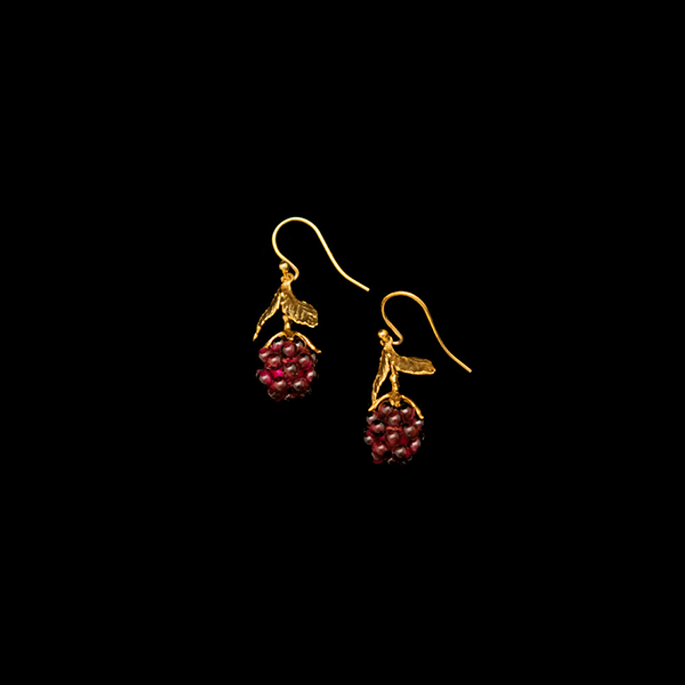 Raspberry Gold and Garnet Drop Wire Earrings   Michael Michaud   4088V   Nature Jewelry