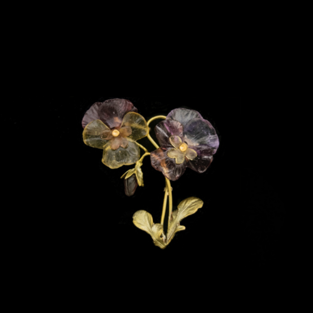 Pansies Two Flower Pin | Michael Michaud | 5996BZ | Nature Jewelry