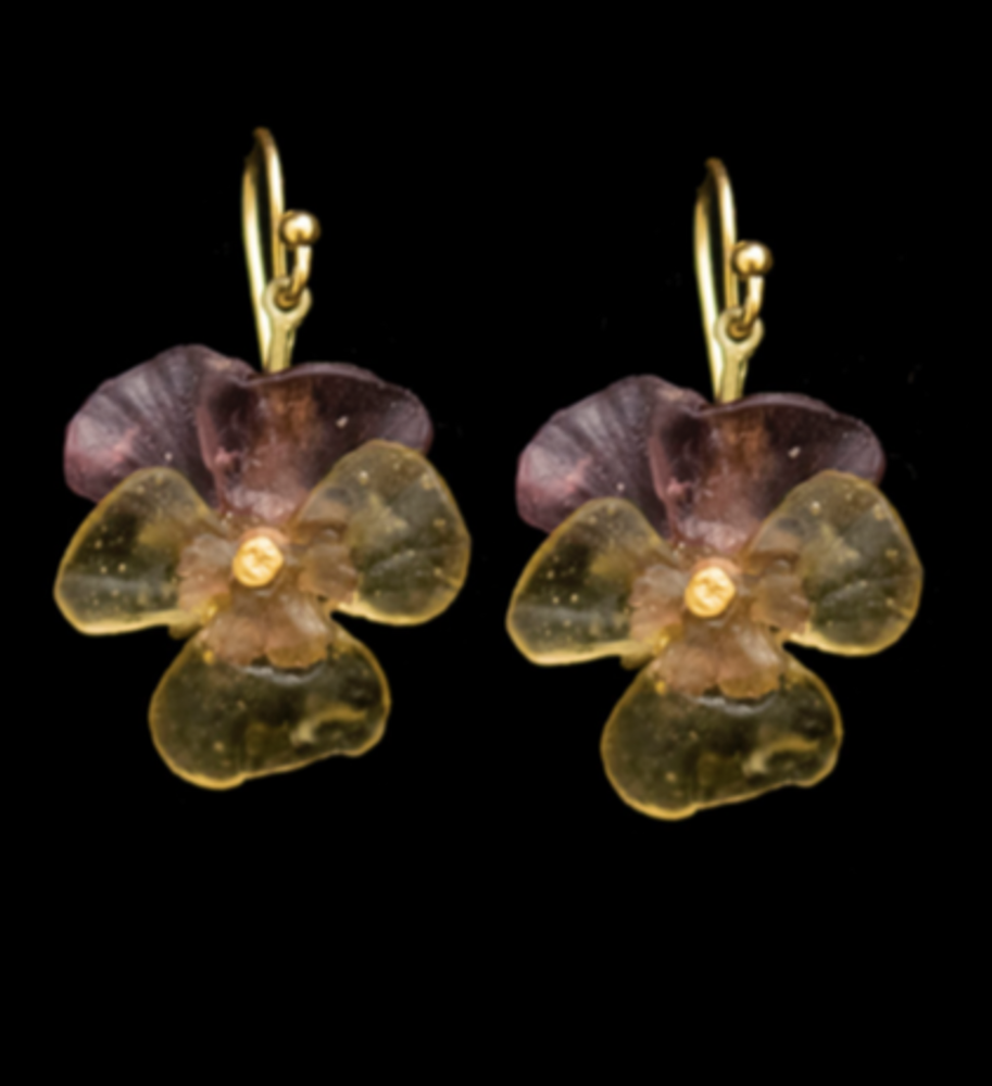 Pansies Wire Earrings | Michael Michaud | 3589BZ | Nature Jewelry