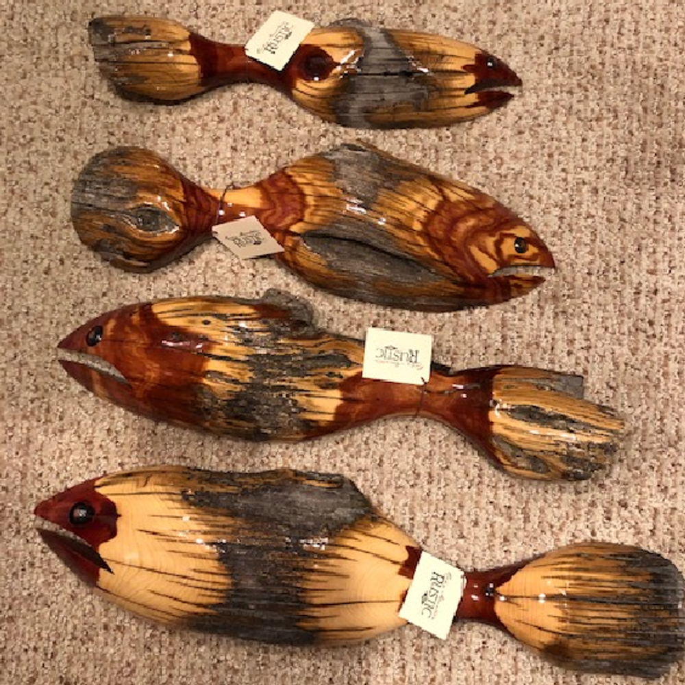 Fence Post Wood Fish Large Wall Sculpture   Rocky Mountain Rustic