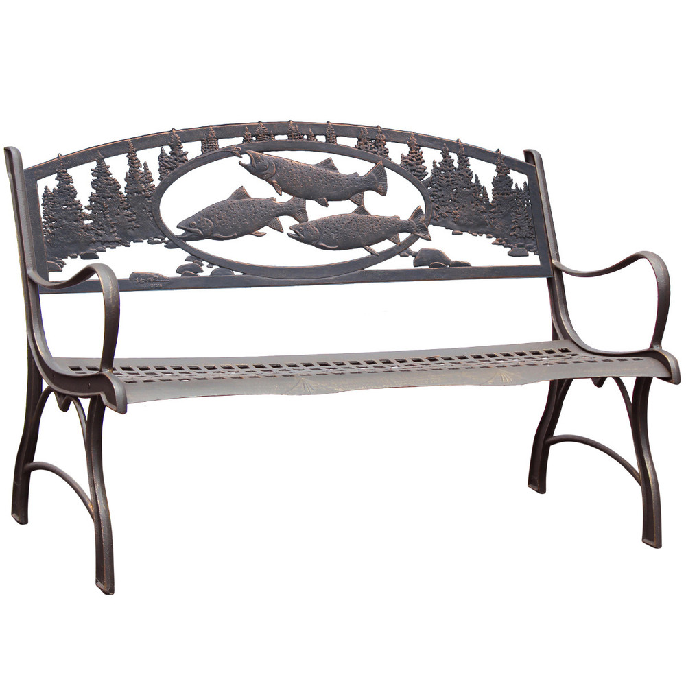 Trout Cast Iron Garden Bench | Painted Sky | PB-TRT-100BR