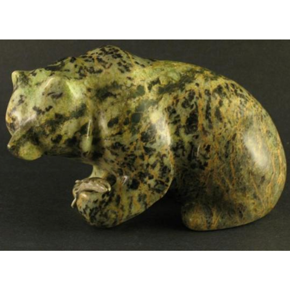 Bear Sitting with Fish in Paw Soapstone Sculpture | Douglas Creek | 1075-8