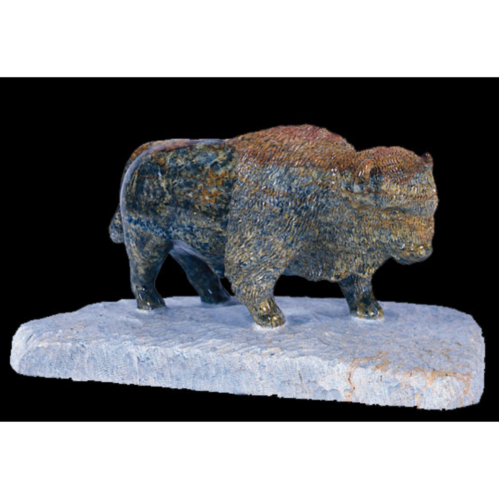 Buffalo Soapstone Sculpture with Base | Douglas Creek | 1700-15