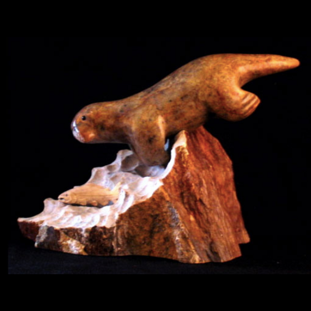 Otter Swimming with Fish Soapstone Sculpture with Base | Douglas Creek | 3050-7