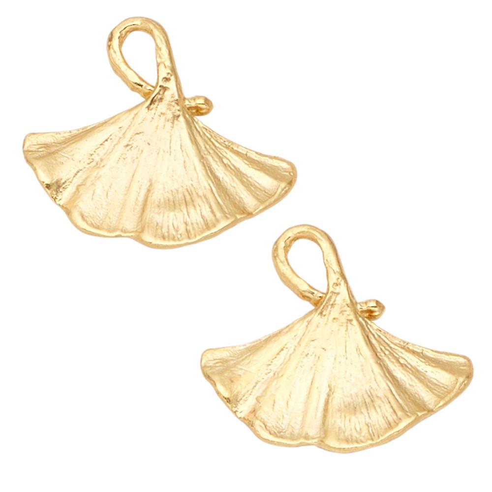 Ginkgo Leaf Gold Post Earrings | Michael Michaud | 4918V | Nature Jewelry