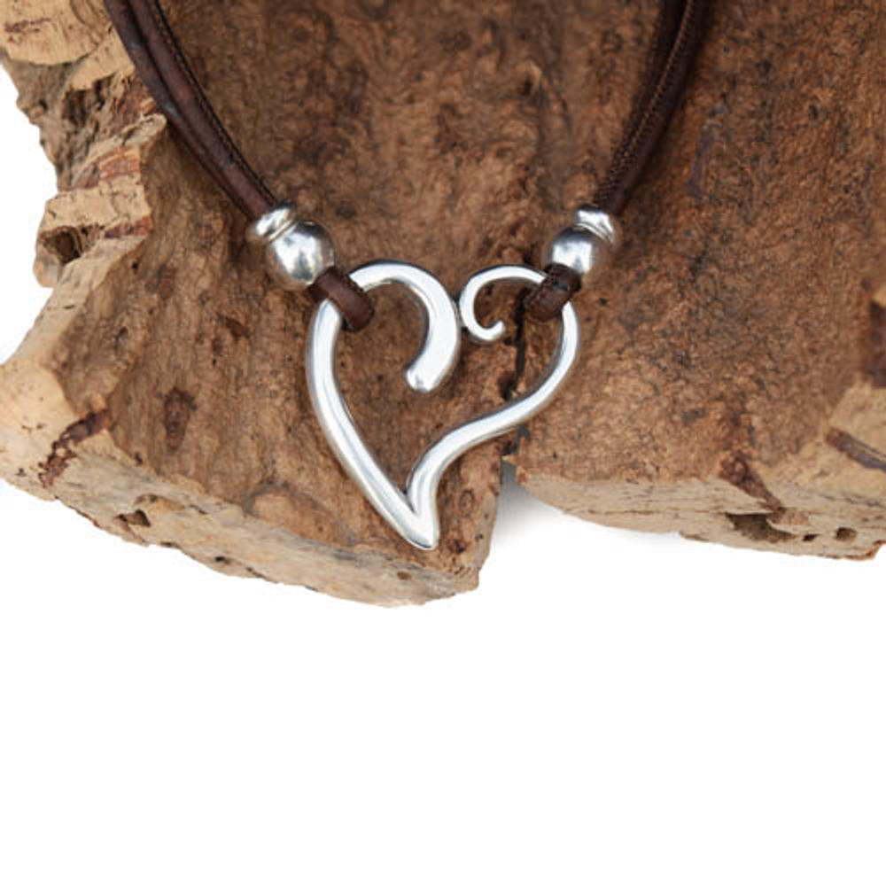 Heart and Cork Necklace | Nature Jewelry | CTD-N52C