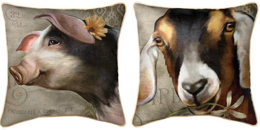 Barnyard Animals Pig/Goat Throw Pillow | SLBBAG