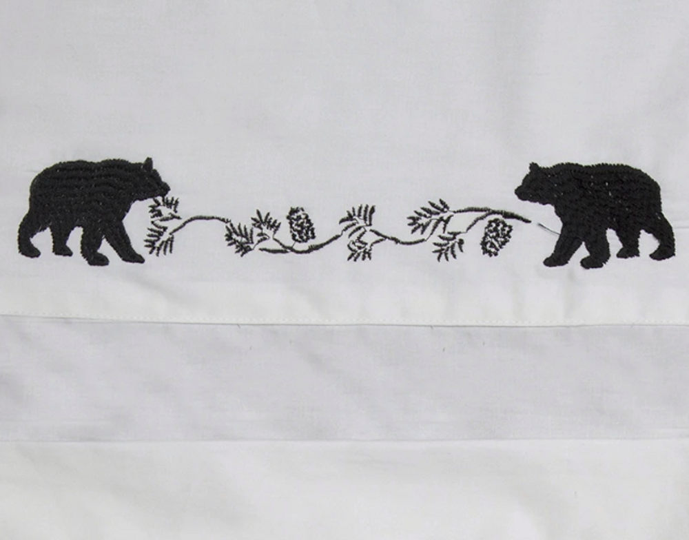 Embroidered Bear Twin Cotton Sheet Set | Carstens | JS200-T