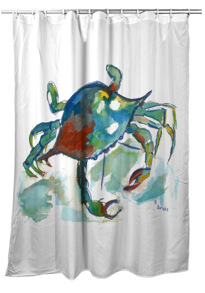"""Crab Shower Curtain """"Betsy's Crab"""" 