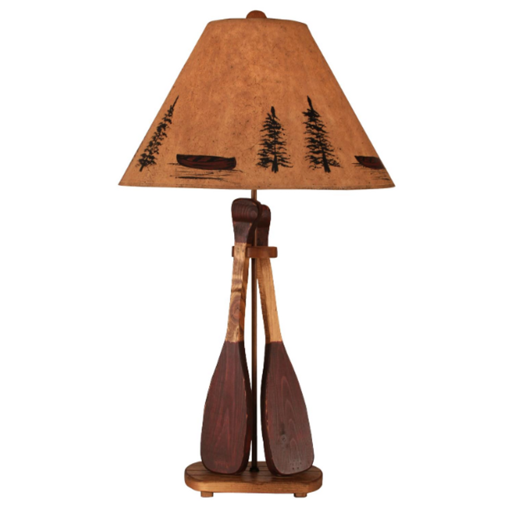 Canoe Paddle Red Accent Wood Table Lamp | Coast Lamp | 12-R11A