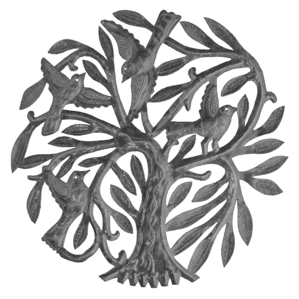 Tree of Life with Four Birds Metal Wall Art | Le Primitif
