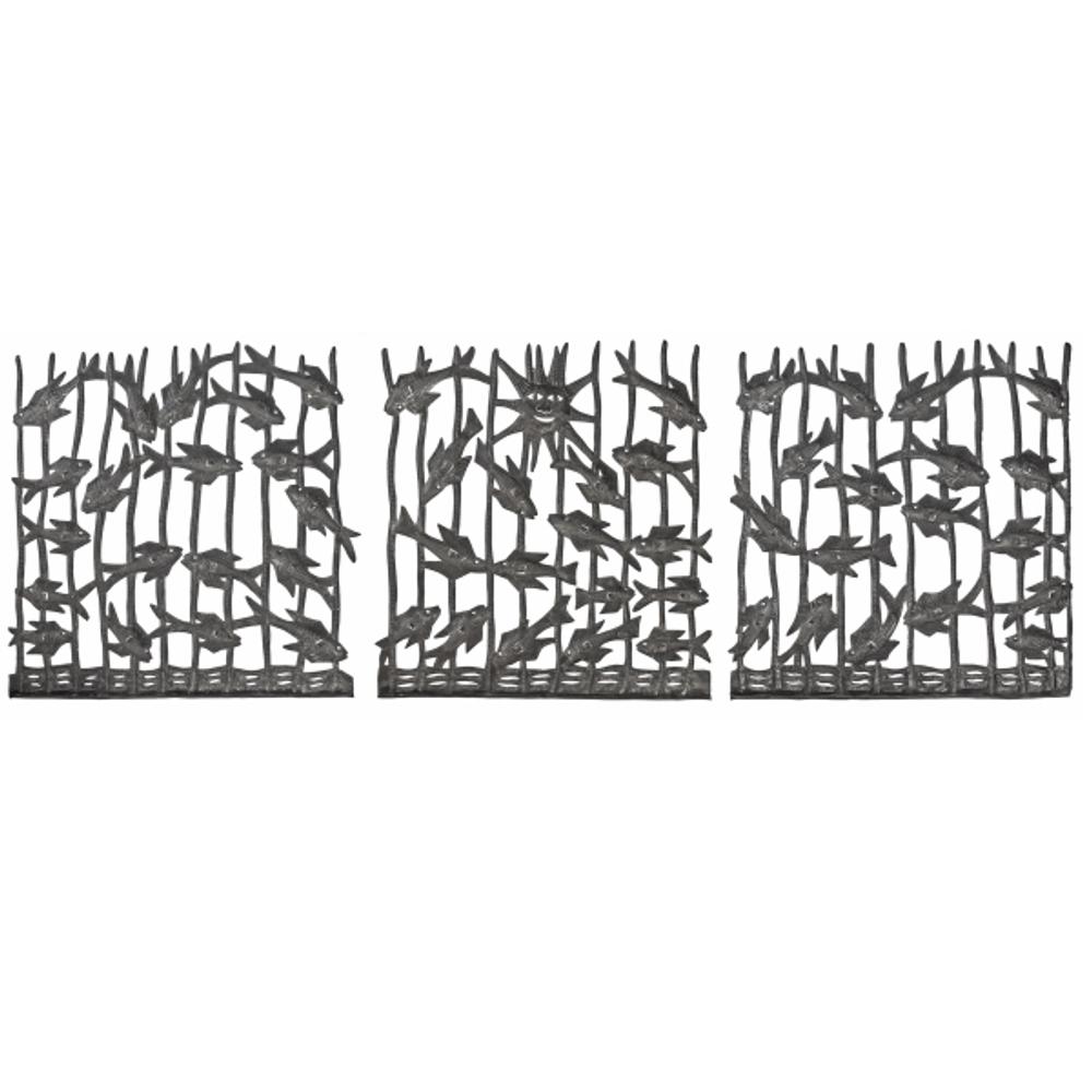 Fish Squares Metal Wall Art Set of 3 | Le Primitif