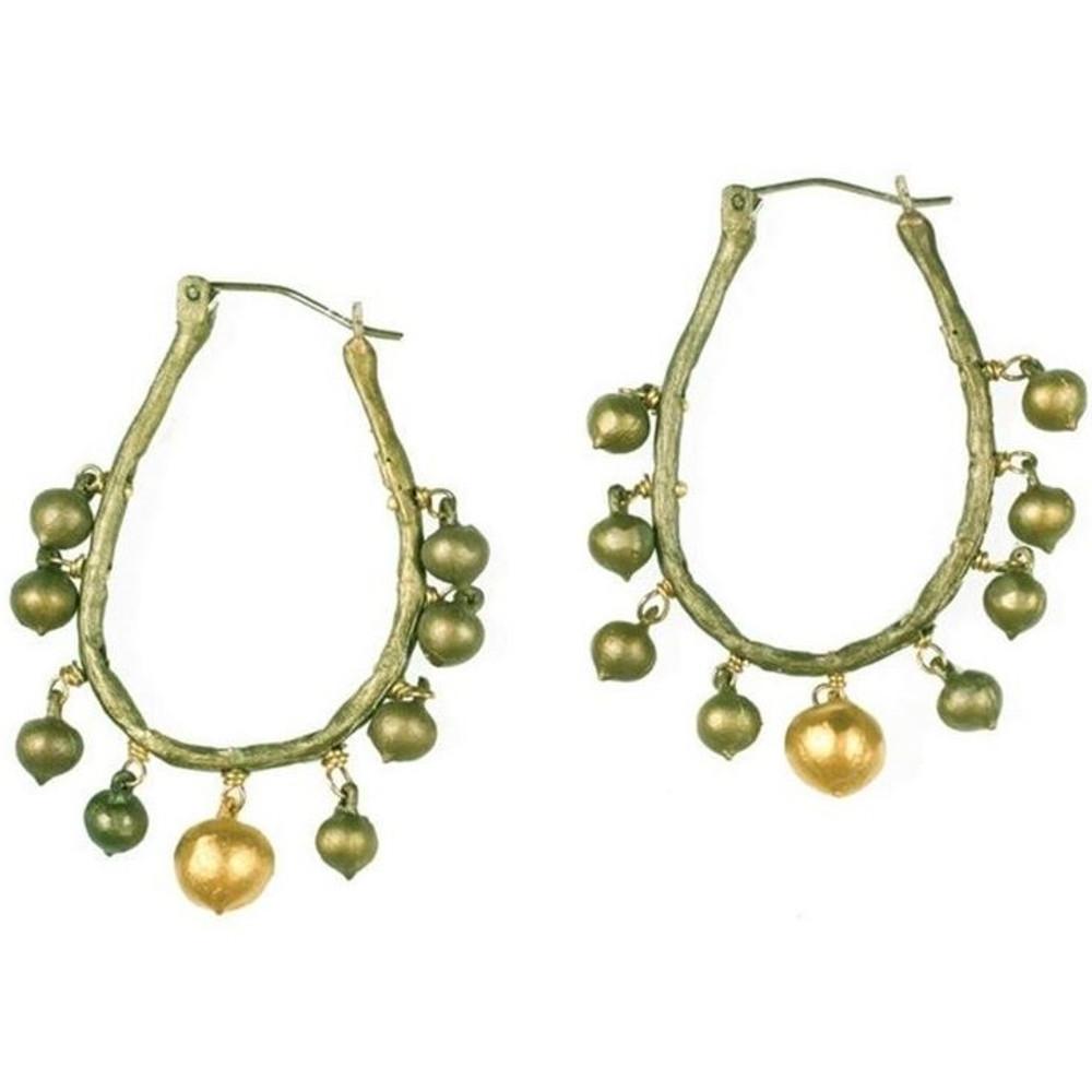 String of Beads Hoop Drop Earrings | Michael Michaud Jewelry | SS4982bz