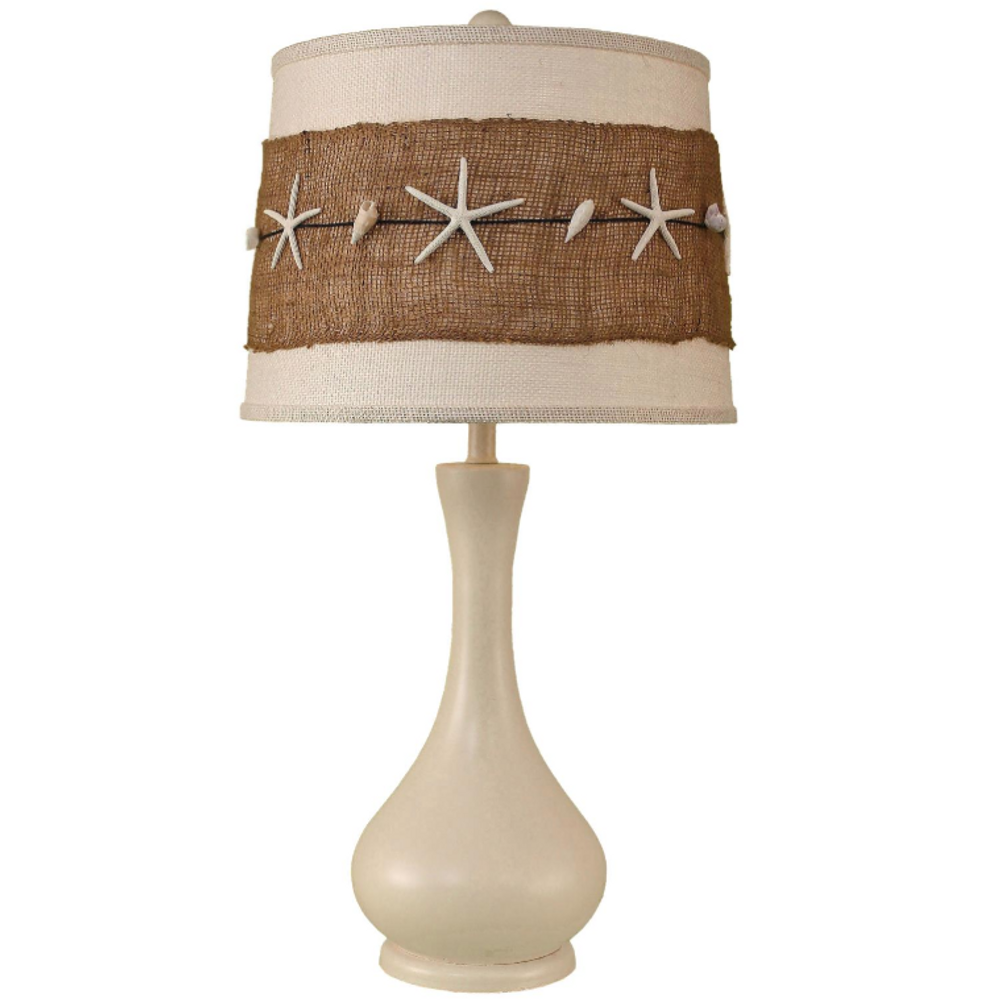 Cottage Bottle Table Lamp with Starfish Burlap Shade | Coast Lamp | 14-B2B