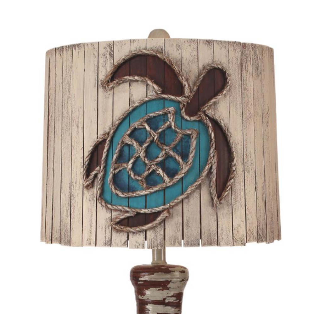 Aged Grey Ribbed Hourglass Table Lamp with Turtle Shade | Coast Lamp | 16-B6B