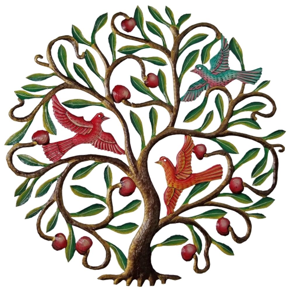 Apple Tree with Birds Painted Metal Wall Art | Le Primitif