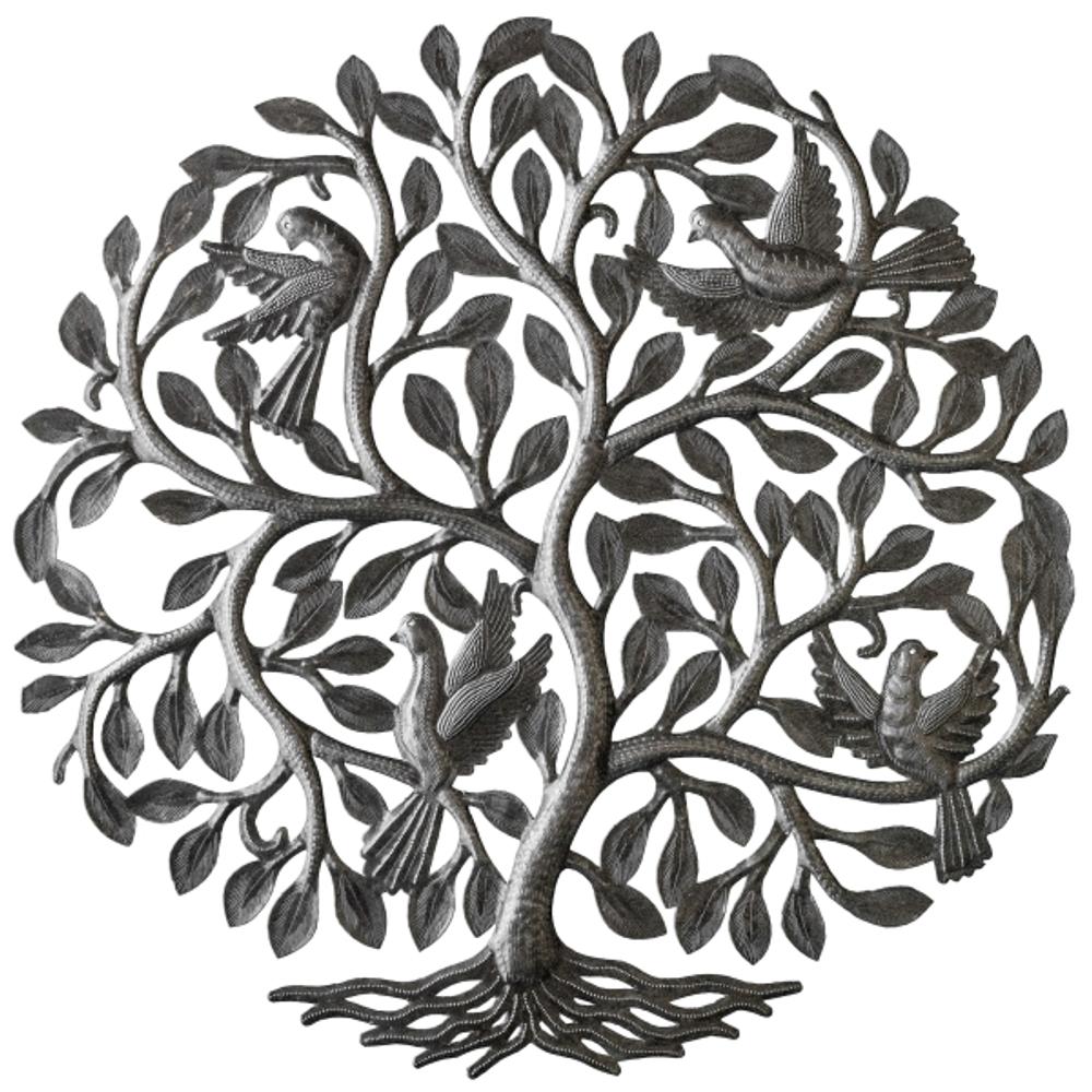 Four Birds in Tree Metal Wall Art   Le Primitif