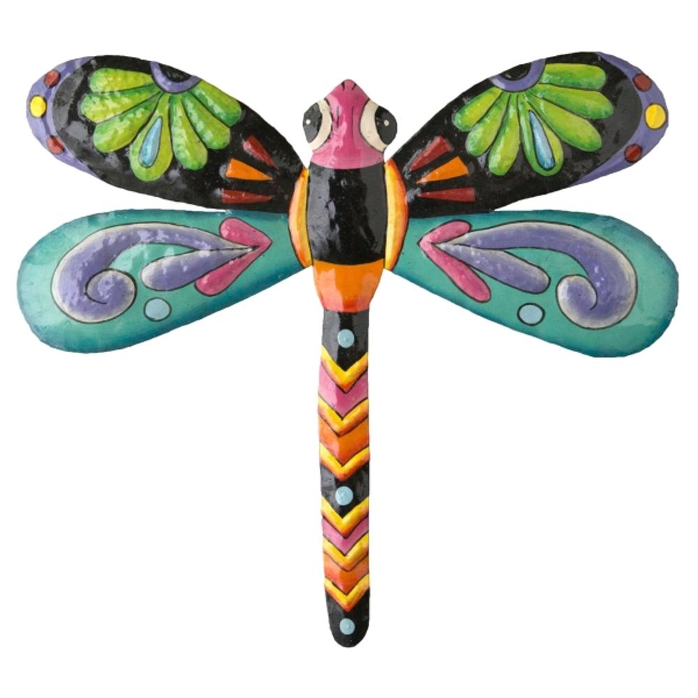 Dragonfly Painted Metal Wall Art | Le Primitif