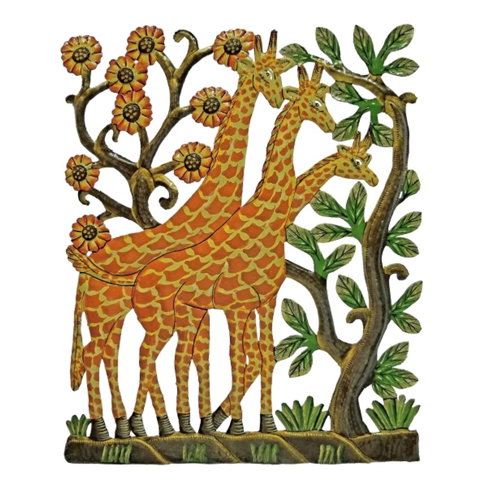 Giraffes Painted Metal Wall Art | Le Primitif
