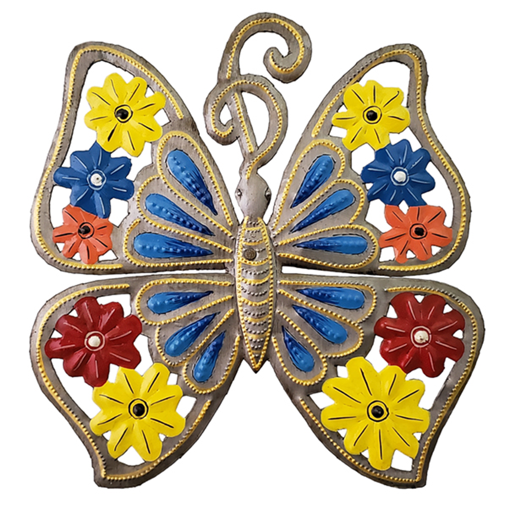 Blue Butterfly Painted Metal Wall Art | Le Premitif