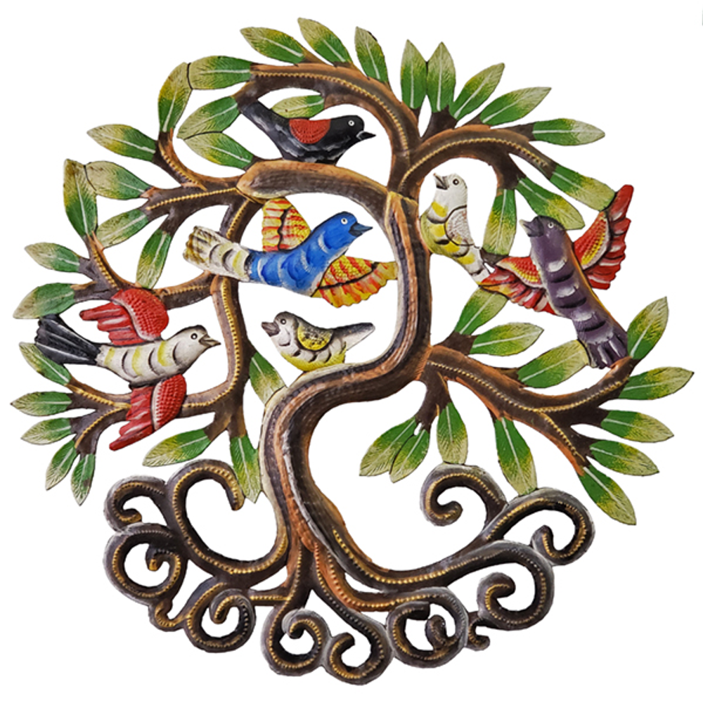 Flocking Bird Tree Painted Metal Wall Art | Le Primitif