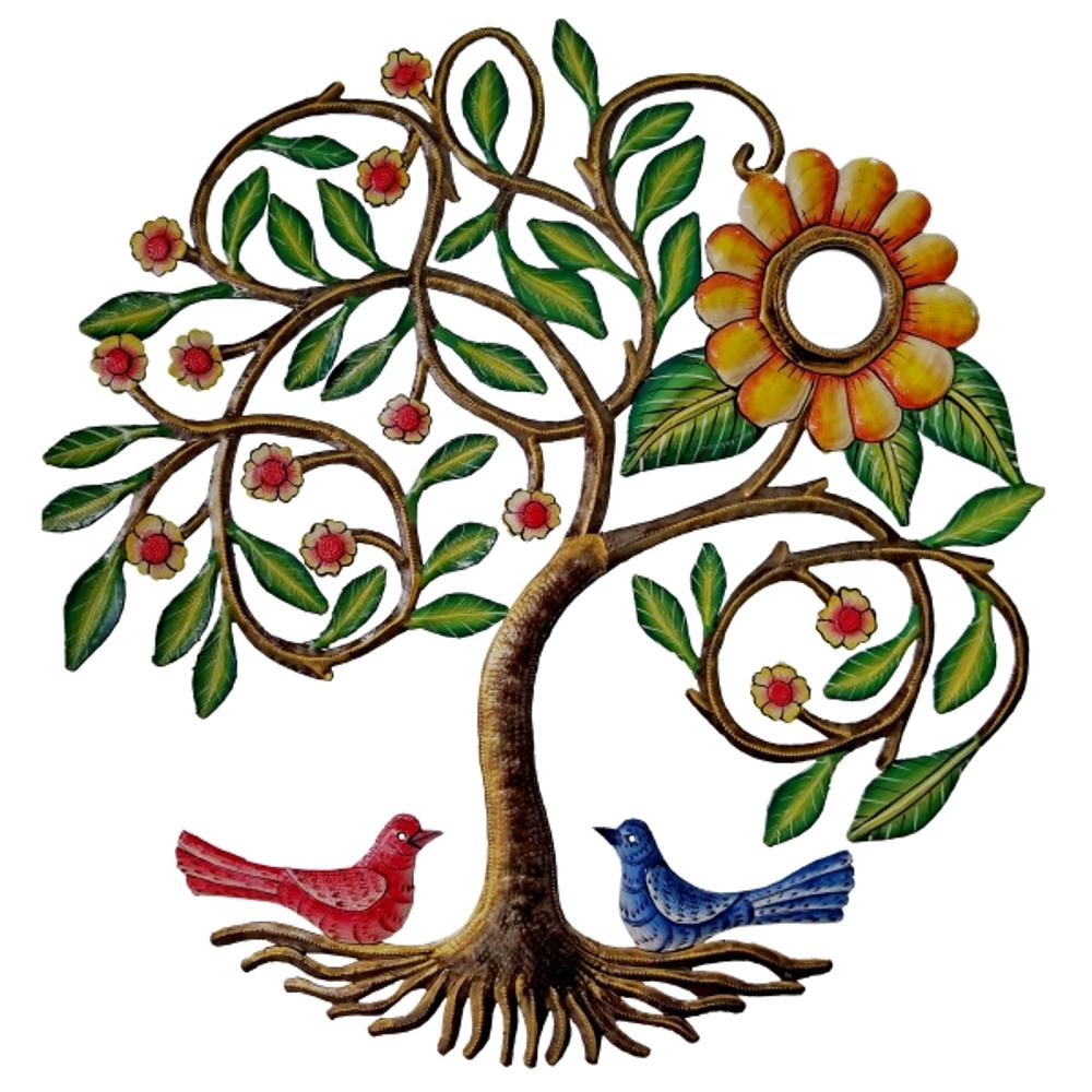 Blooming Tree with Birds Painted Metal Wall Art | Le Primitif