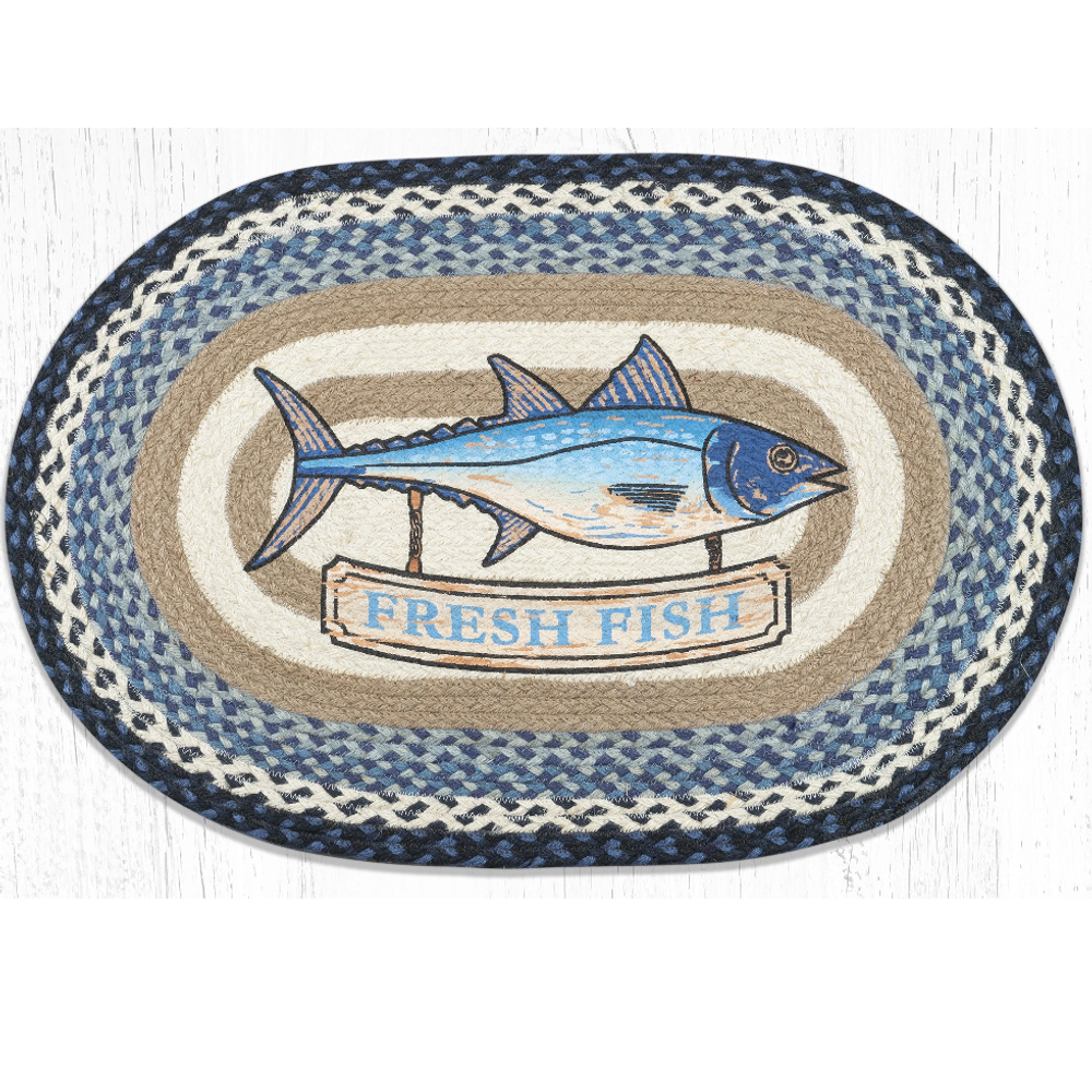 Fresh Fish Oval Braided Rug | Capitol Earth Rugs | OP-443
