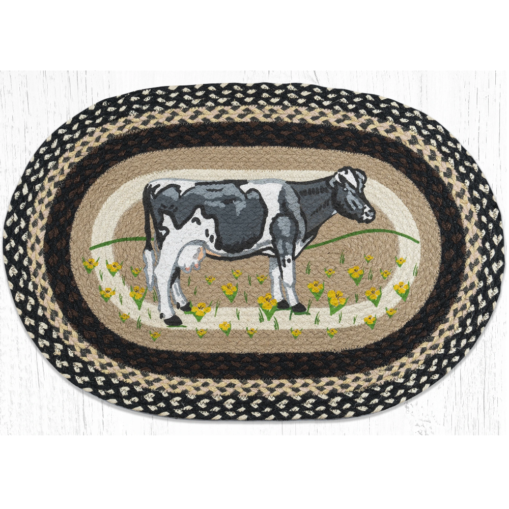 Cow In Field Oval Braided Rug | Capitol Earth Rugs | OP-430