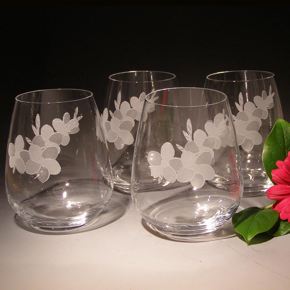Plumeria Stemless Wine Glass Set of Four | Evergreen Crystal | TR06623