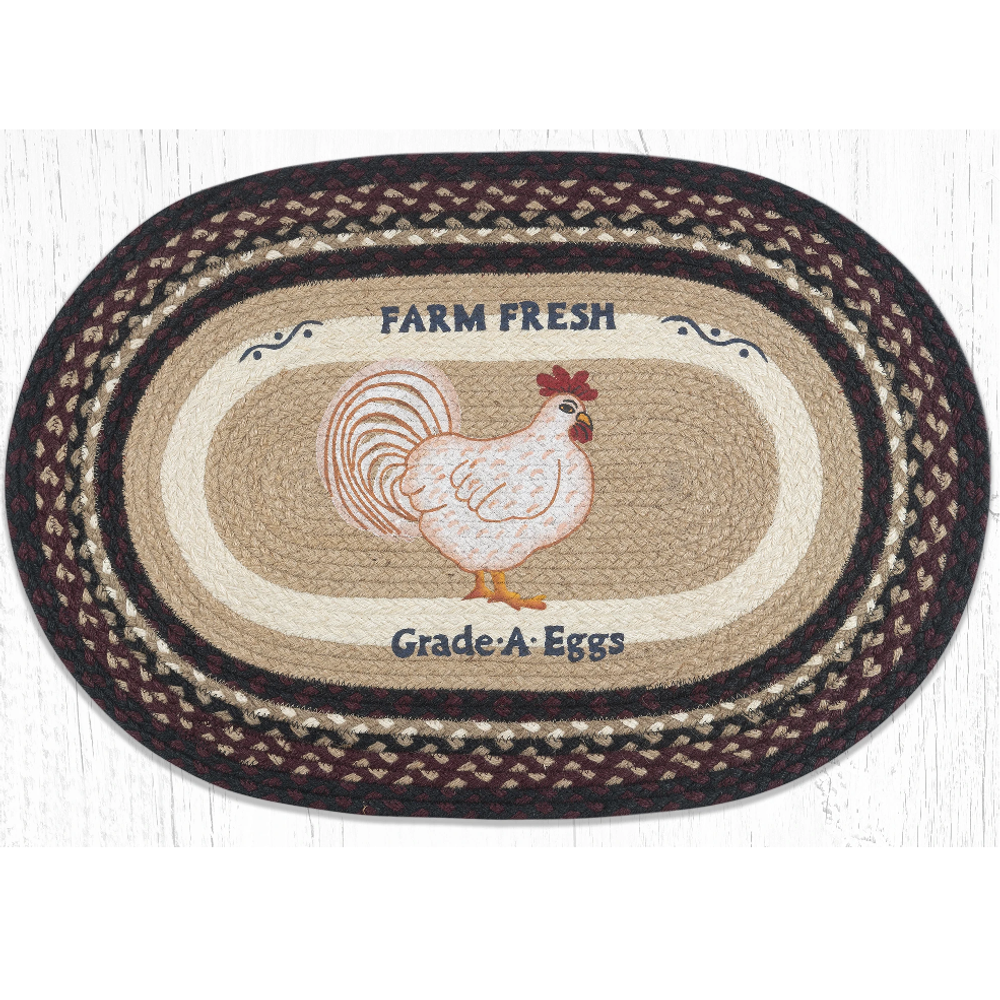 Farmhouse Chicken Oval Braided Rug | Capitol Earth Rugs | OP-344