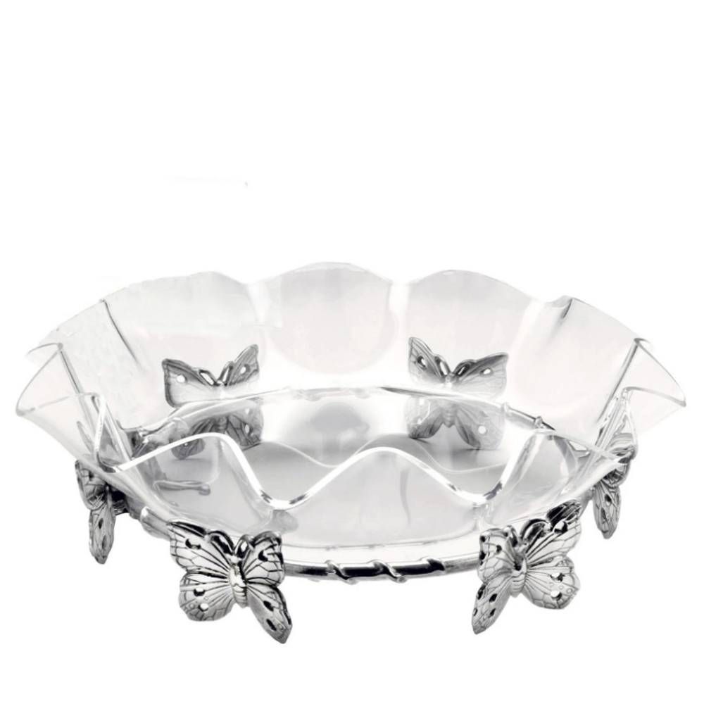 Butterfly Stand with Acrylic Bowl   Arthur Court Designs   050348