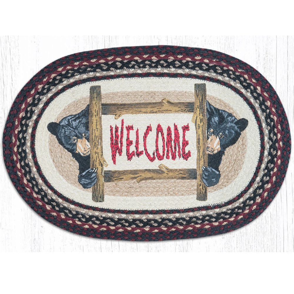 Bear Welcome Oval Braided Rug | Capitol Earth Rugs | OP-344
