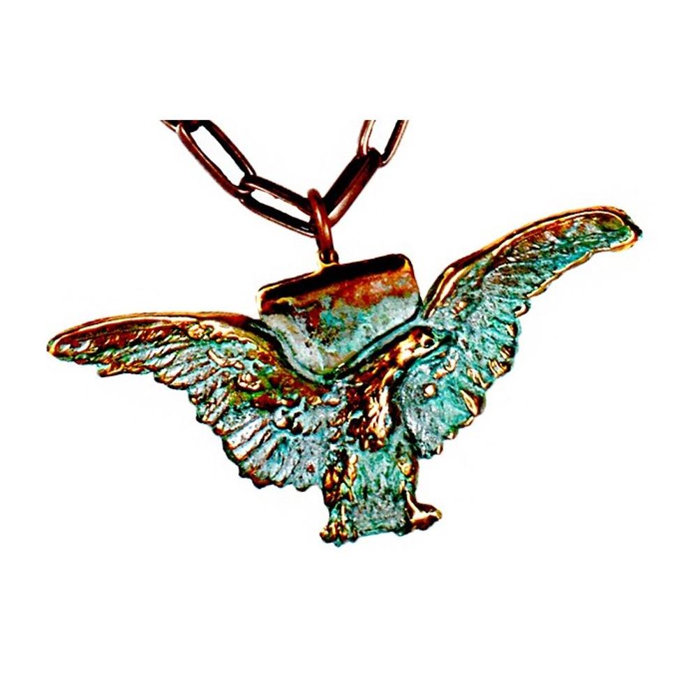 Eagle Verdigris Patina Brass Pendant Copper Chain Necklace   Elaine Coyne Jewelry