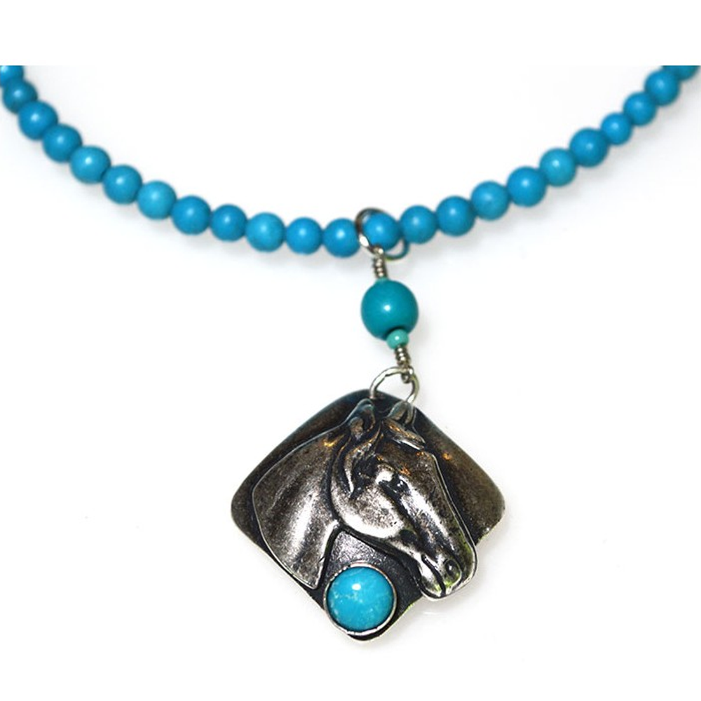 Horse Head Antique Silver Brass Turquoise Necklace | Elaine Coyne Jewelry | ECGEQAS824N