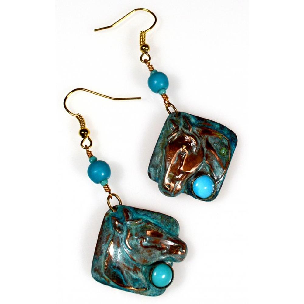 Horse Head Verdigris Patina Brass Turquoise Wire Earrings | Elaine Coyne Jewelry | ECGEQP824ETU