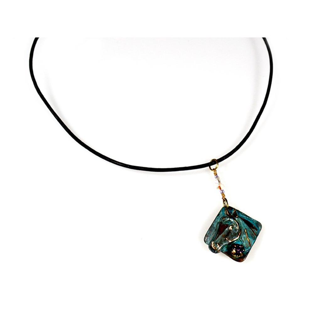 Horse Head Verdigris Patina Brass Necklace   Elaine Coyne Jewelry   ECGEQP824PDCRPA