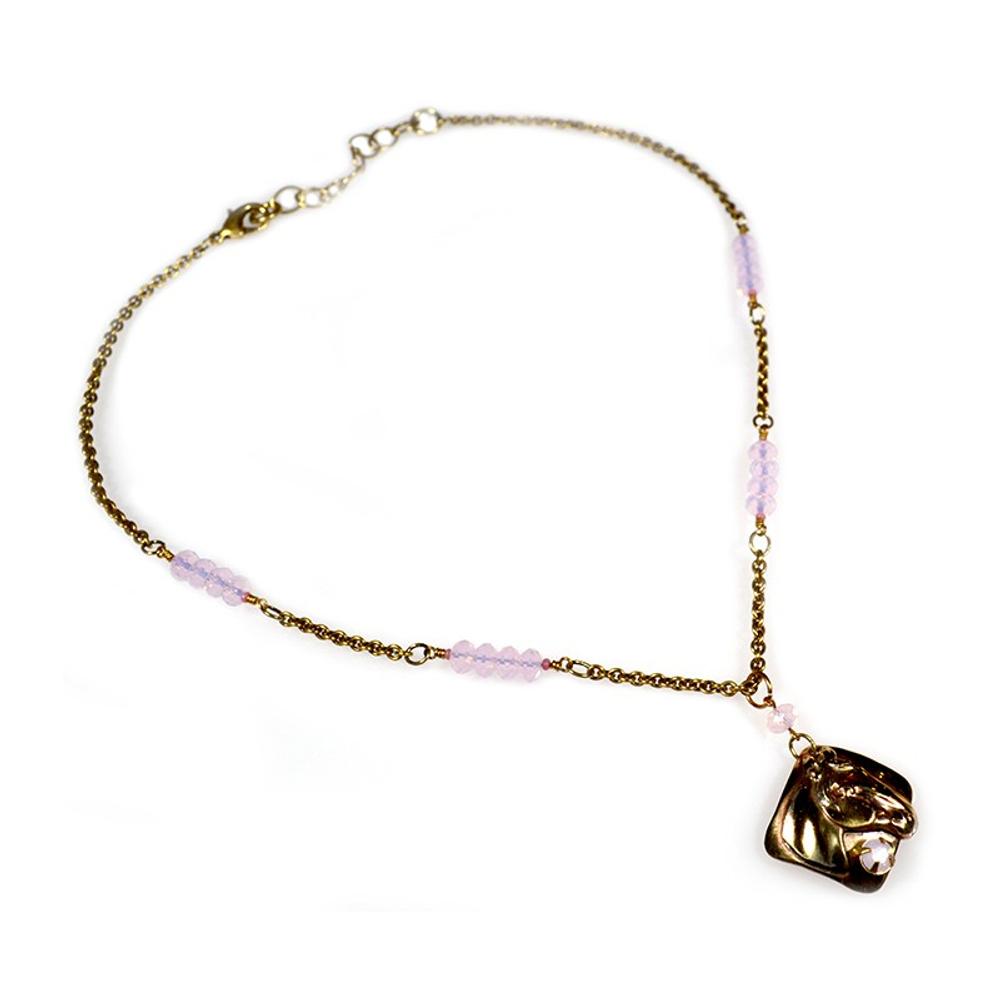 Horse Head Rose Opal Crystals Necklace | Elaine Coyne Jewelry | ECGEQB824NCR