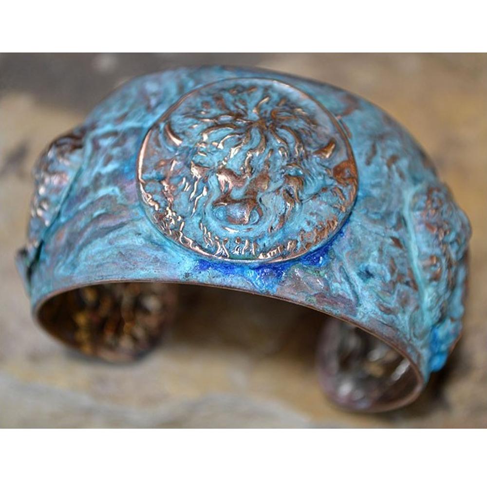 Buffalo Verdigris Patina Brass Cuff Bracelet   Elaine Coyne Jewelry   ECGBP83CF