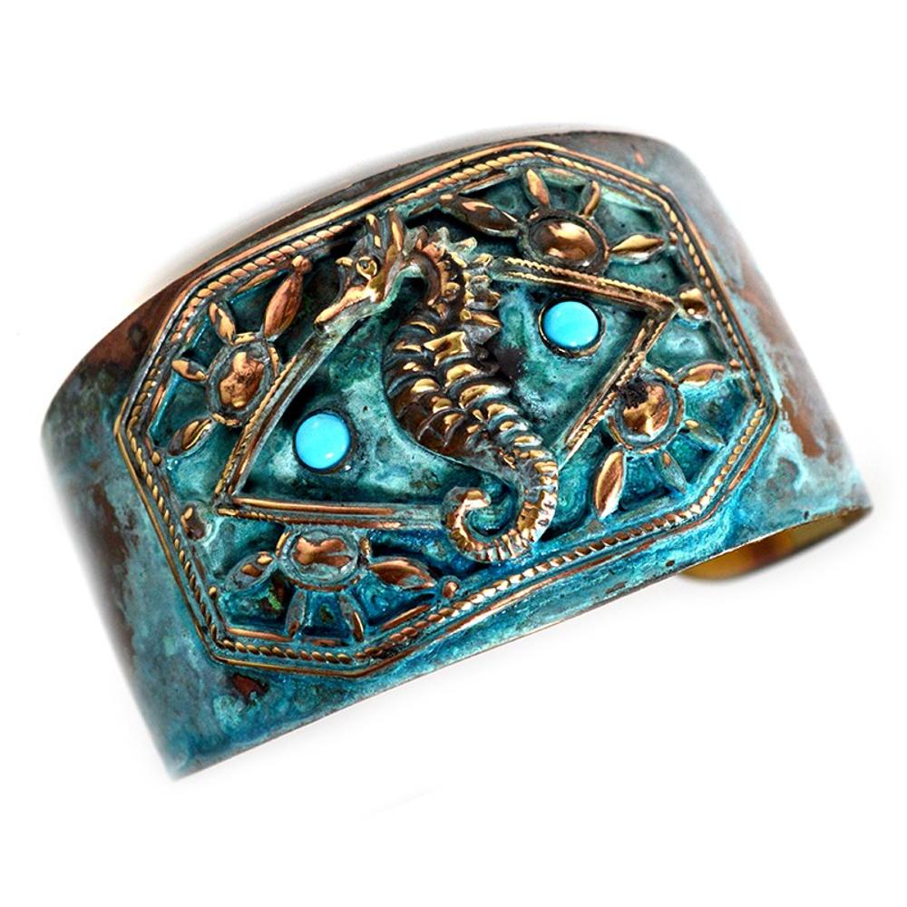 Seahorse Verdigris Patina Brass Cuff Bracelet | Elaine Coyne Jewelry | ECGOCP141BCTU