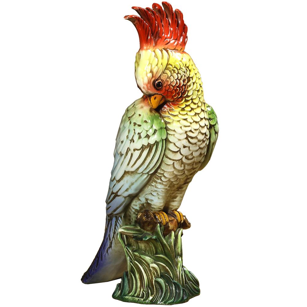 Red Parrot Ceramic Sculpture   Intrada Italy   PAR9197