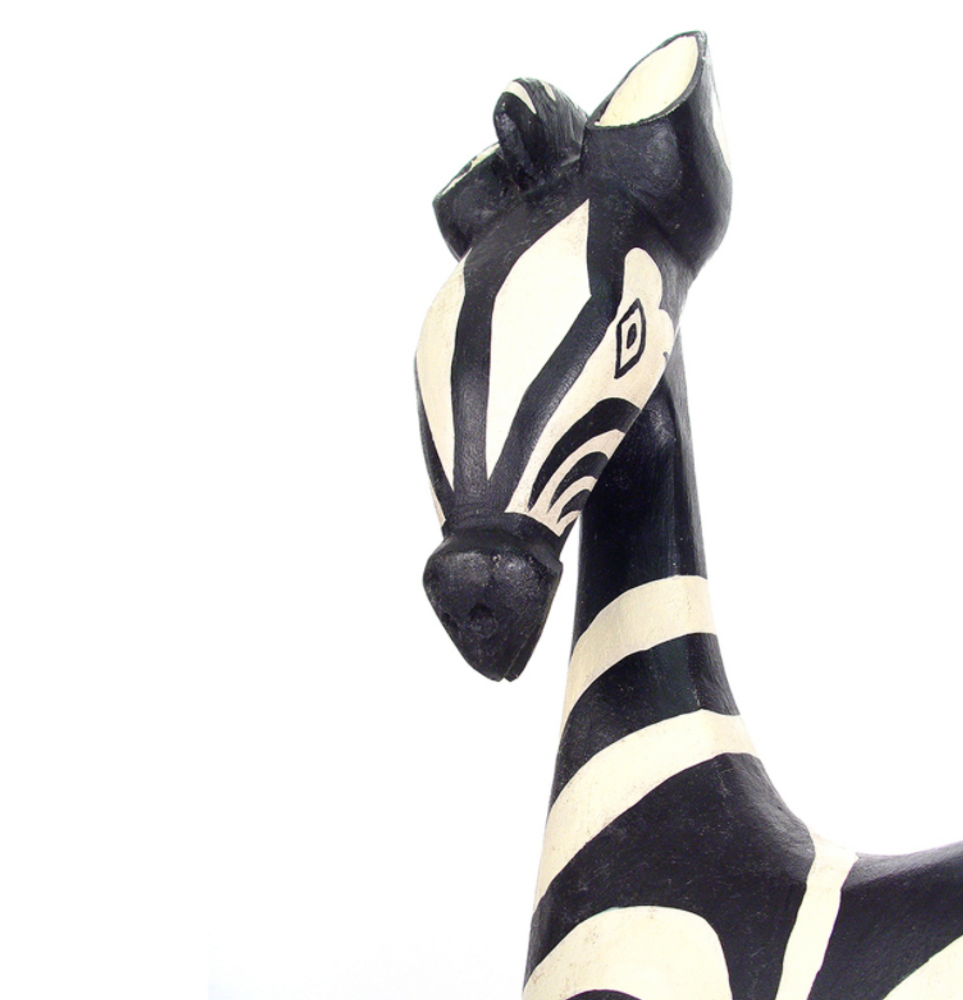 Zebra Painted Wood Sculpture Large | Mbare | MWZ24