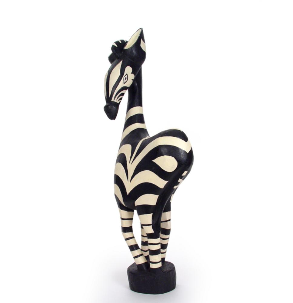 Zebra Painted Wood Sculpture Medium | Mbare | MWZ20