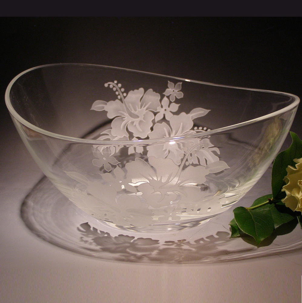 Hibiscus II Oval Crystal Bowl | Evergreen Crystal